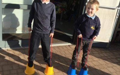 Reception Children Enjoying Stilts!